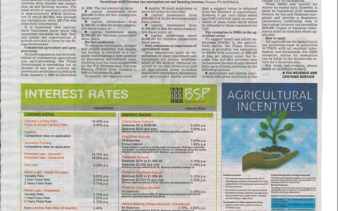 Agri-based incentives